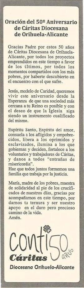 Oracion 50 aniversario Caritas